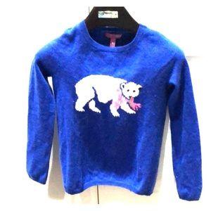 Aqua Cashmere Girls Polar Bear Sweater
